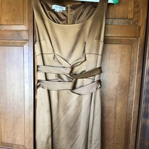 Kay Unger sand dress w/ wrap design on bodice